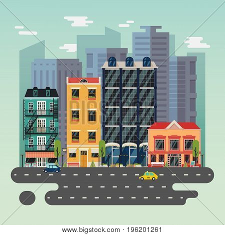 Town or city landscape with road and buildings, houses with restaurant or cafe, bistro. Urban midtown with taxi car and bicycle, skyscrapers exterior view. Architecture construction panorama theme