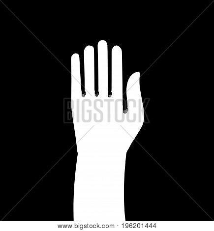 Hand icon in outline style. Isolated on black background body Part symbol-vector illustration.