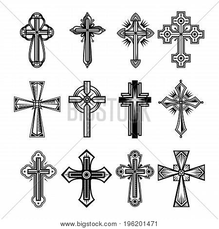 Set of isolated christian and catholicism crosses. Religion crucifix symbol, faith and peace, God and Jesus Christ sign, church decoration. Belief icon, divine and spirituality, worship theme