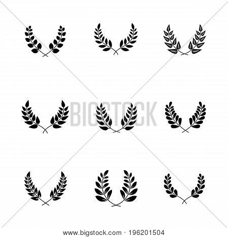 Greek ornate elements for wreath made of olive branches with leaves. Old or vintage, retro winner decoration or wedding ornate, trophy award. Success or victory sign, heraldry and floral theme