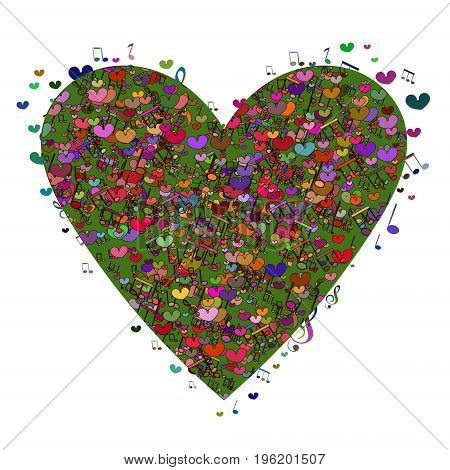 Abstract vector background with music notes and a shape of a heart. Original vector illustration with a large range of applications. Template for Valentine's day