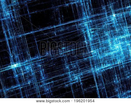 Fractal abstract computer-generated texture with chaos scratches on glossy blue surface and light effects. Digital art - trendy tech style backdrop