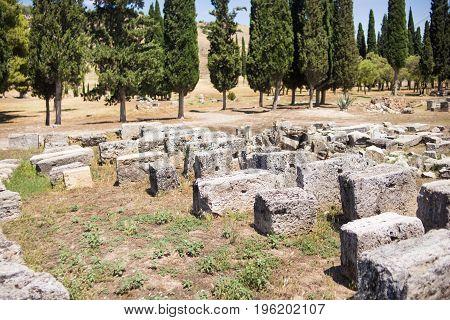 Roman Hierapolis with adjacent remains of buildings Pamukkale Turkey. UNESCO World Heritage