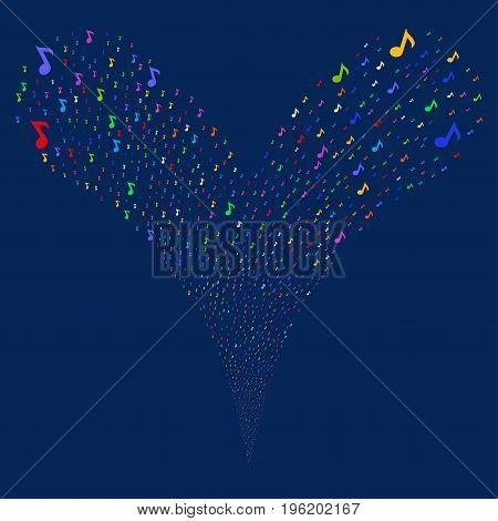 Musical Note explosive stream. Vector illustration style is flat bright multicolored iconic musical note symbols on a blue background. Object fountain constructed from random pictographs.