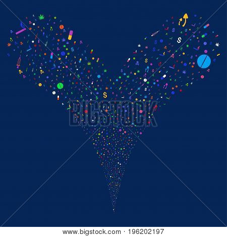 Narcotic Drugs salute stream. Vector illustration style is flat bright multicolored iconic narcotic drugs symbols on a blue background. Object fountain organized from random icons.