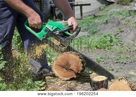 Chain saw in human hands in action