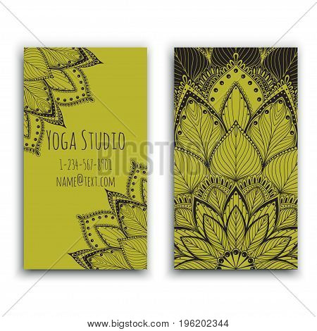 Yoga studio business card with green mandala design vector illustration