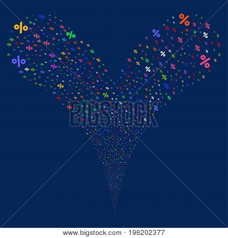 Percent salute stream. Vector illustration style is flat bright multicolored iconic percent symbols on a blue background. Object fountain organized from random design elements.