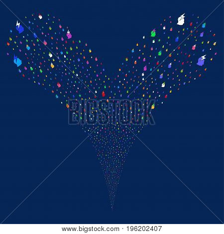 Person Stress Strike salute stream. Vector illustration style is flat bright multicolored iconic person stress strike symbols on a blue background. Object fountain combined from random pictograms.