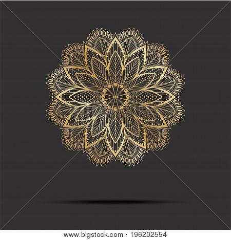 Golden Mandala. Vintage mandala, elements mandala. Oriental pattern with mandala, vector illustration on dark background