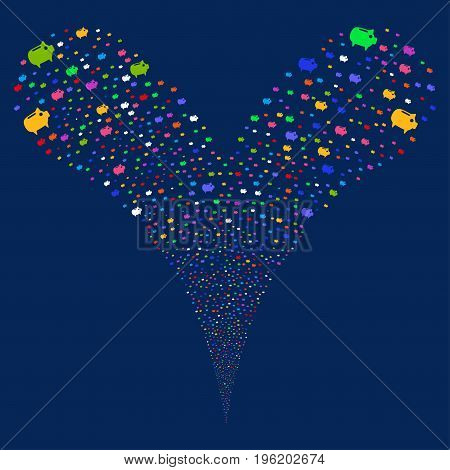 Piggy Bank salute stream. Vector illustration style is flat bright multicolored iconic piggy bank symbols on a blue background. Object fountain organized from random symbols.