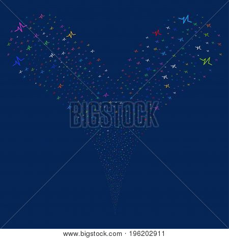 Pulse explosive stream. Vector illustration style is flat bright multicolored iconic pulse symbols on a blue background. Object fountain organized from random pictograms.