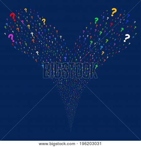 Question fireworks stream. Vector illustration style is flat bright multicolored iconic question symbols on a blue background. Object fountain constructed from random design elements.
