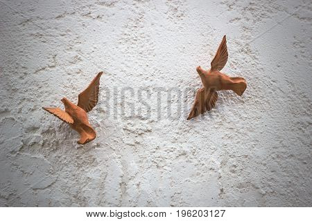 Two Wooden Figures Of Doves