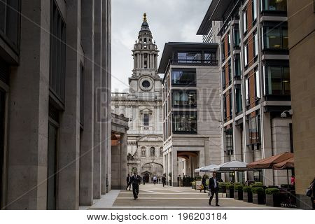 LONDON, GREAT BRITAIN - MAY 13, 2014: This is Paternoster Square near the St. Paul's Cathedral which originated in an area that suffered from bombing during the World War II.