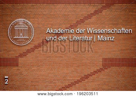 MAINZ, GERMANY - JULY 17: The new brick building of the Academy of Sciences and Literature with logo on July 17 2017 in Mainz.