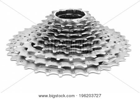 bicycle cogwheel gears cassette isolated on white background
