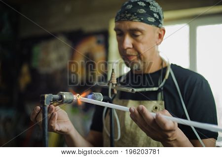 Glass-blowing Workshop. Burner. Production Of Neon Tubes
