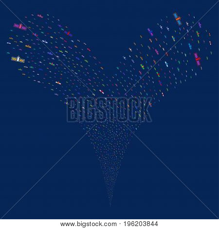 Satellite fireworks stream. Vector illustration style is flat bright multicolored iconic satellite symbols on a blue background. Object fountain constructed from random design elements.