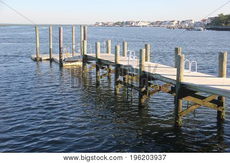 A dock at low tide in Brigitnene, New Jersey nessr