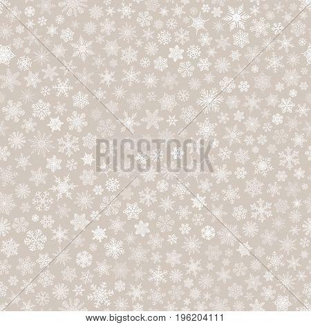 Seamless Pattern Of Snowflakes, White On Beige