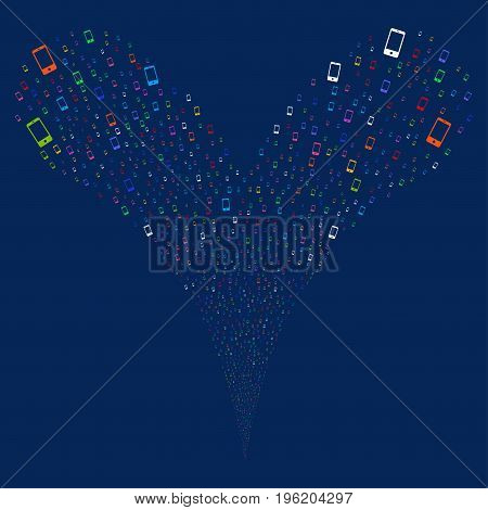 Smartphone fireworks stream. Vector illustration style is flat bright multicolored iconic smartphone symbols on a blue background. Object fountain created from random symbols.