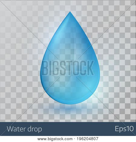 Blue shiny single water drop on transparent background. Vector illustration