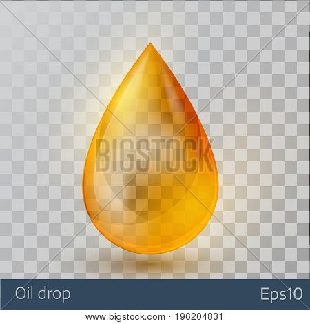 Realistic yellow  oil drop  on white transparent background. Vector illustration