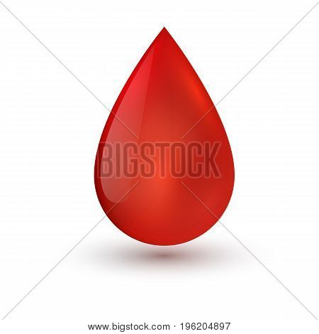 Single blood drop isolated on white background. Vector illustration.