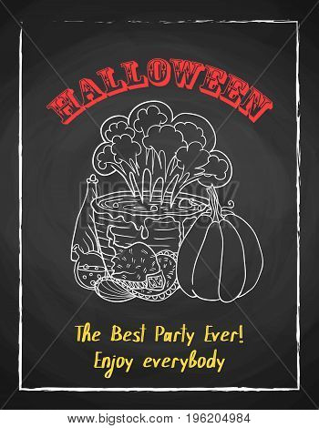 Halloween holiday chalk poster for party. Textured blackboard and witch accessories, pot with potion, pumpkin and hat. Template for advertising design.