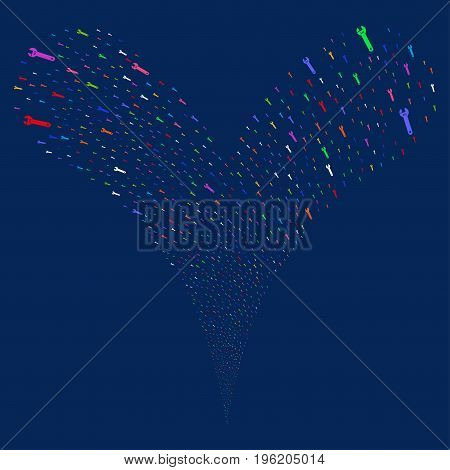 Spanner fireworks stream. Vector illustration style is flat bright multicolored iconic spanner symbols on a blue background. Object fountain done from random icons.