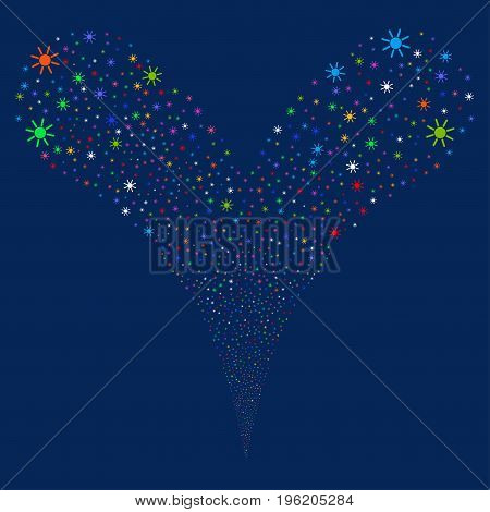Sun fireworks stream. Vector illustration style is flat bright multicolored iconic sun symbols on a blue background. Object fountain combined from random symbols.