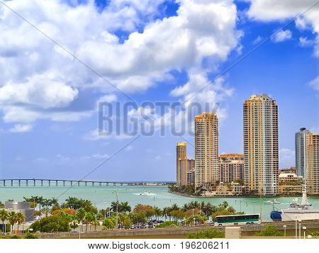View of downtown Miami with William Powell Bridge