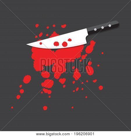 Knife with blood splatter. Crime Concept, Vector Illustration
