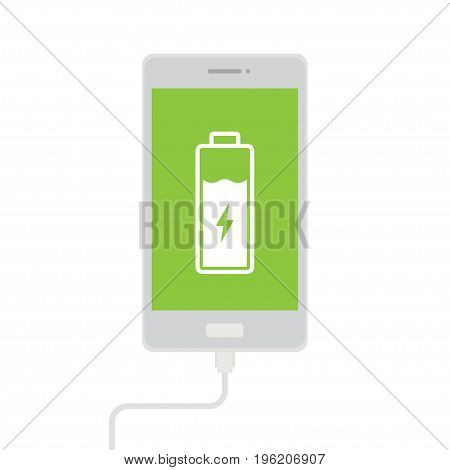 phone charging using a usb cable, vector illustration