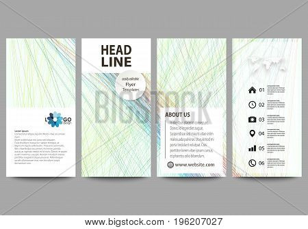 Flyers set, modern banners. Business templates. Cover template, easy editable layouts, vector illustration. Colorful background with abstract waves, lines. Bright color curves. Motion design