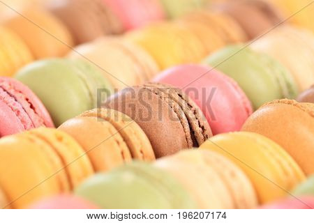 Macarons Macaroons Colorful Cookies Dessert From France