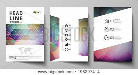Business templates for brochure, magazine, flyer, booklet or annual report. Cover design template, easy editable vector, abstract flat layout in A4 size. Bright color pattern, colorful design with overlapping shapes forming abstract beautiful background.