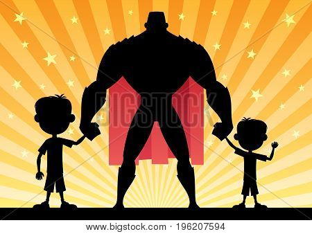 Cartoon illustration of super dad with his 2 sons.