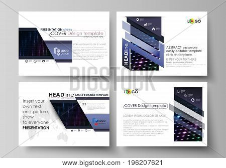 Set of business templates for presentation slides. Easy editable abstract vector layouts in flat design. Abstract colorful neon dots, dotted technology background. Glowing particles, led light pattern, futuristic texture, digital vector design.