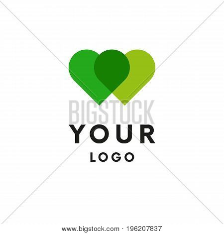 Two hearts logo. Abstract eco green logo. Vector.