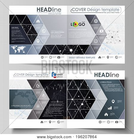 Business templates for square design bi fold brochure, magazine, flyer, booklet or annual report. Leaflet cover, abstract flat layout, easy editable vector. Abstract infographic background in minimalist style made from lines, symbols, charts, diagrams and