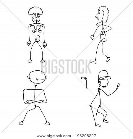 Vector set of Abstract Human Symbols, men logos. Success, Achievement, Sport, Activity Isolated On White Background. Illustration, Graphic Design Editable For Your Design.