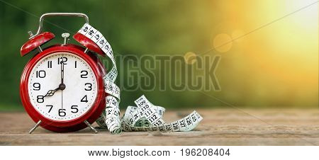 Web banner of diet time and lost weight concept