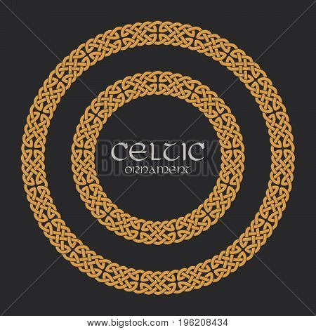 Celtic knot braided frame border circle ornament. Vector illustration