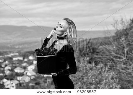 Girl With Flowers In Box