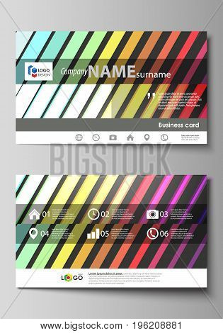 Business card templates. Easy editable layout, abstract flat design template, vector illustration. Bright color rectangles, colorful design, geometric rectangular shapes forming abstract beautiful background