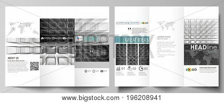 Tri-fold brochure business templates on both sides. Easy editable abstract vector layout in flat design. Abstract infinity background, 3d structure with rectangles forming illusion of depth and perspective.