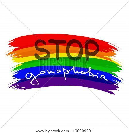 Low poly rainbow . Handwritten text Stop gomophobia. Unconventional sexual orientation for LGBT gay and lesbian parade. Geometric polygonal vector