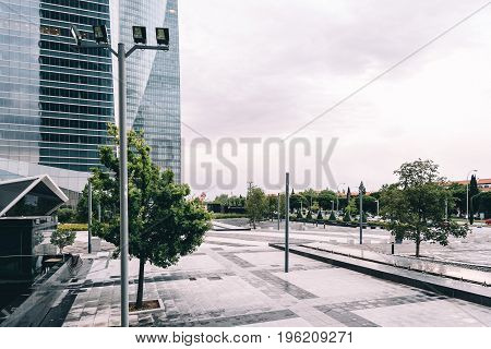 Madrid Spain - June 25 2017: Rainy day in Cuatro Torres Business Area CTBA. The Four Towers Business Area is a business district in against sky.